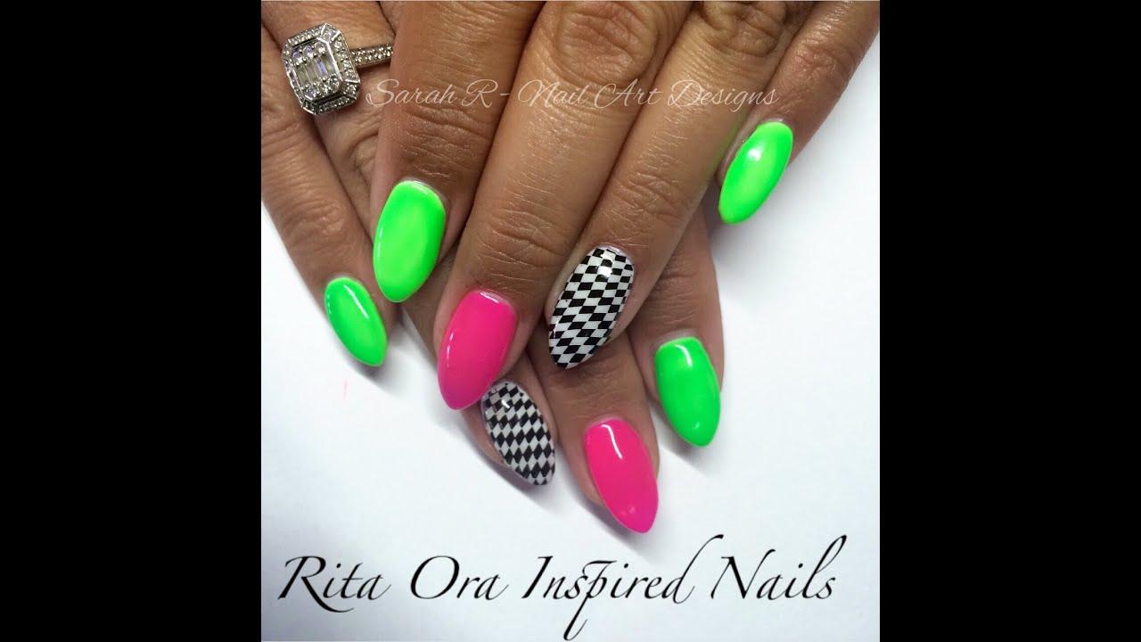 Celeb Sunday #2 | Rita Ora \'The Voice\' inspired neon nails - YouTube