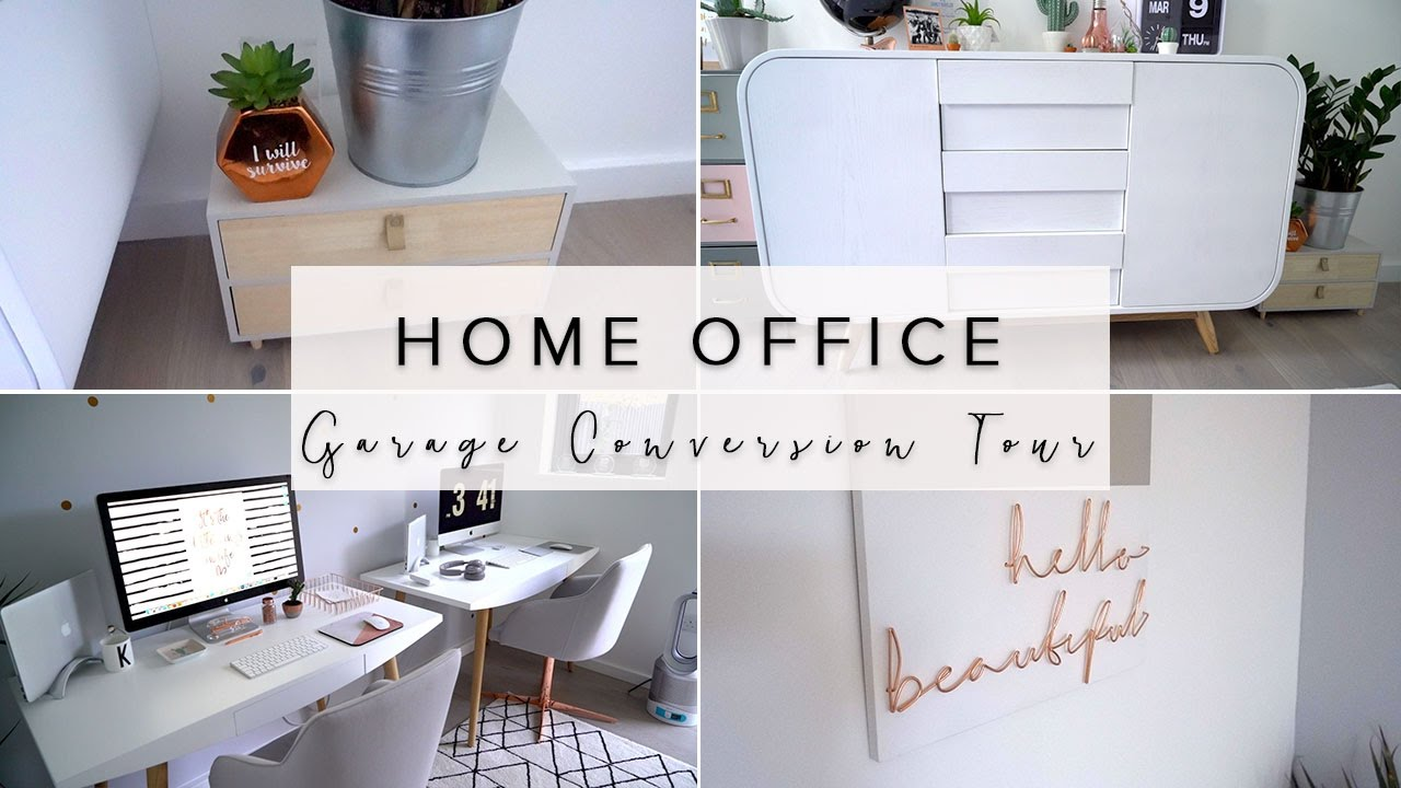 Our Minimalism Home Office Garage Conversion Tour Copper And Grey Office Youtube
