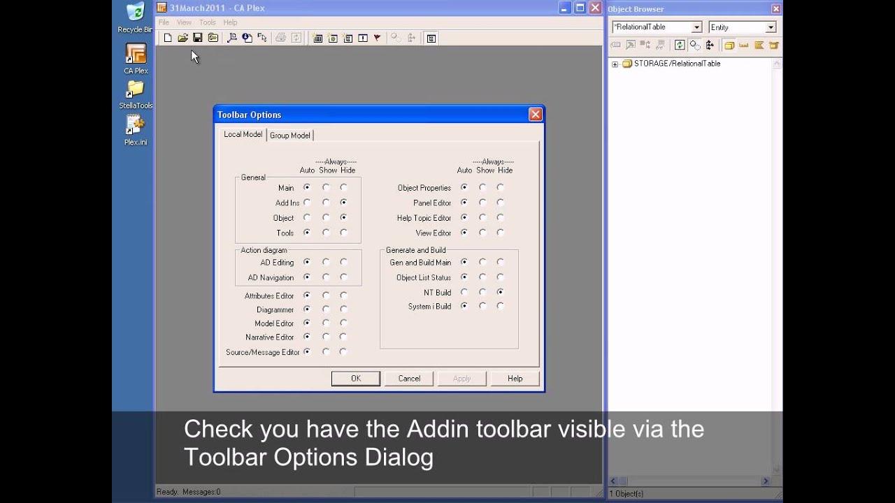 Add-In settings - Stella Tools (CA Plex Developer Tools)