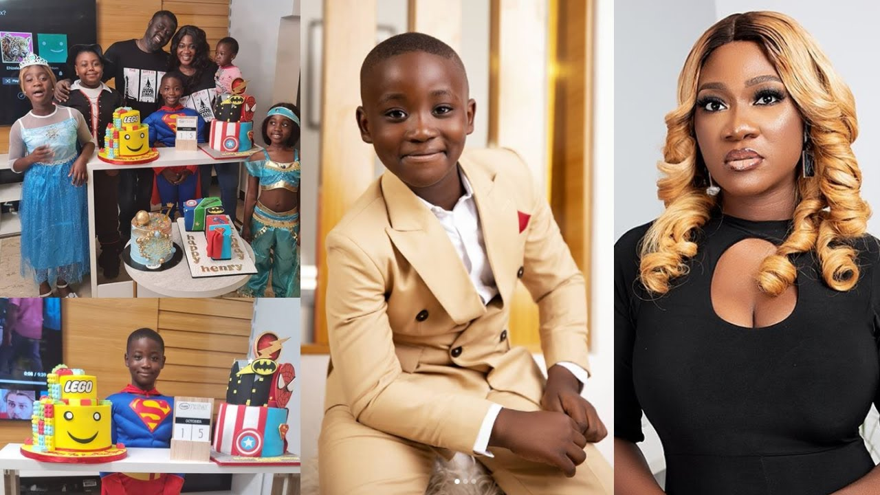 Download Handsome Son! Mercy Johnson Okojie And Family Celebrates Son Henry At 7years.