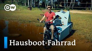 Eine skurrile Erfindung: dąs Hausboot-Camper-Fahrrad | Euromaxx