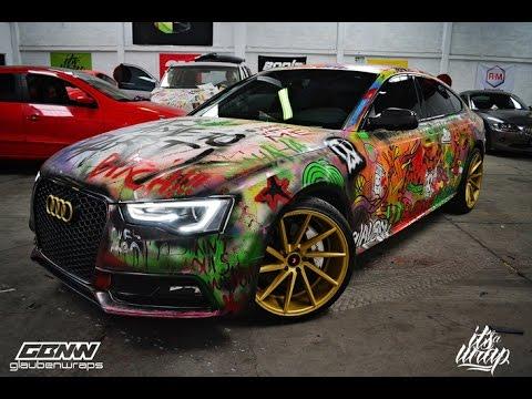Graffiti Over Car Audi A5 Sline Suicide Squad Theme Joker