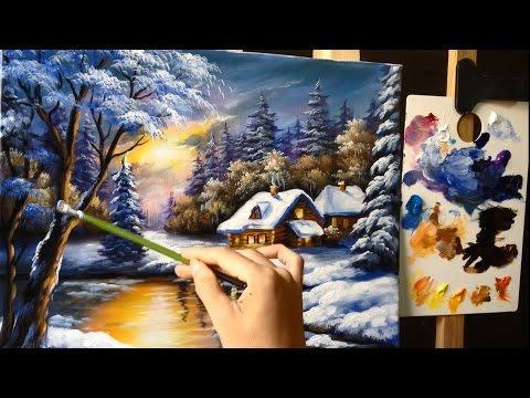 Painting a Winter Wonderland Landscape with Acrylics - Lesson 1