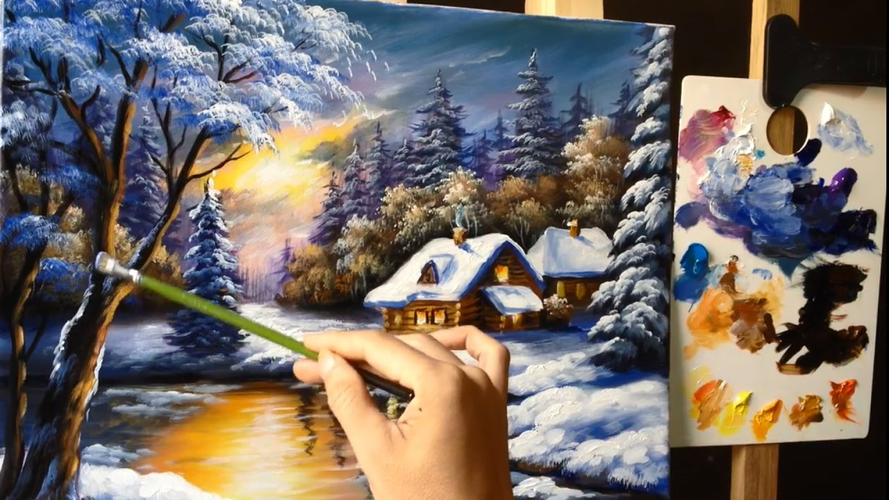 painting a winter wonderland landscape with acrylics lesson 1
