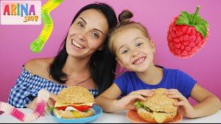 ✿ БУРГЕР ЧЕЛЛЕНДЖ Burger Challenge с малиновым джемом и червяками Челленджи от Arina Show