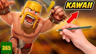 COMMENT DESSINER CLASH OF CLANS KAWAII - CLASH OF CLANS ART CHALLENGE