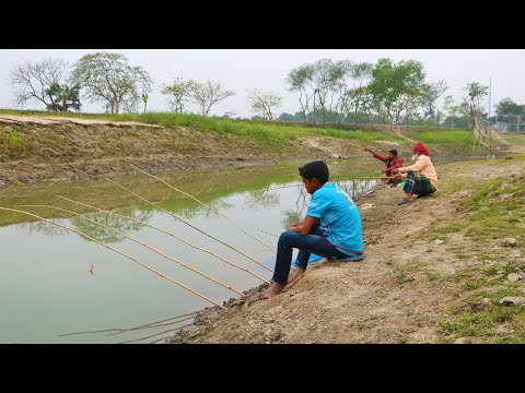 Fishing Video | Hook Fishing | Incredible Young Angler Hunting Fish in Natural Village Lake