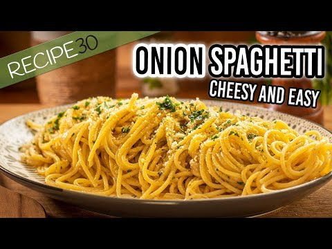 Onion Cheesy Spaghetti With Lemon And Parsley