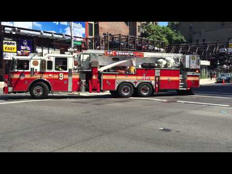 FDNY ENGINE 33 & FDNY TOWER LADDER 9 RESPONDING IN THE EAST VILLAGE AREA OF MANHATTAN, NEW YORK.