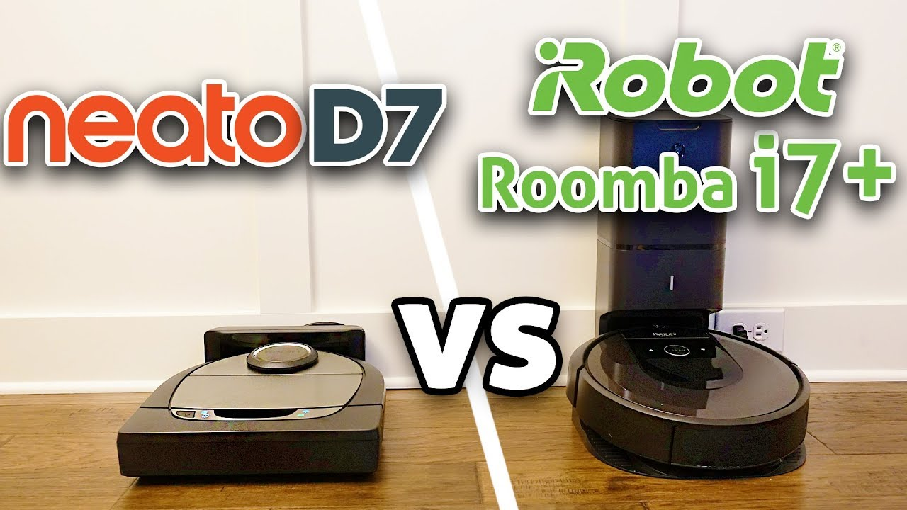 neato d7 vs roomba i7 robot vacuum comparison youtube. Black Bedroom Furniture Sets. Home Design Ideas