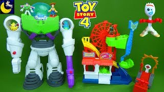 Buzz Lightyear Robot Space Ship! Lots of Toy Story 4 Toys Imaginext Pizza Planet Truck Play Set Toys