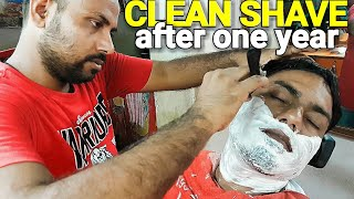 Street style face shave by Indian barber Reiki master( bi naural)