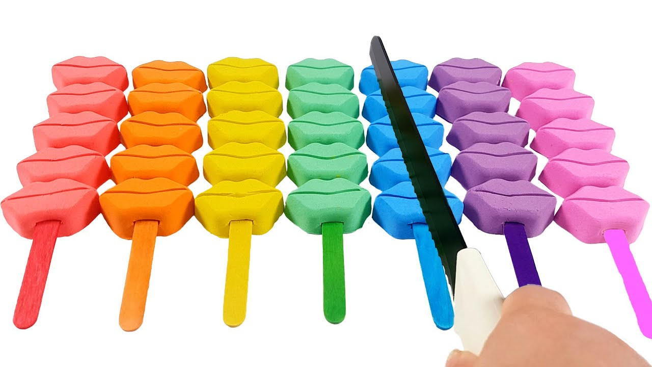 satisfying video / DIY How to make kinetic sand lip skewer stick ice cream / Kinetic Sand  ASMR
