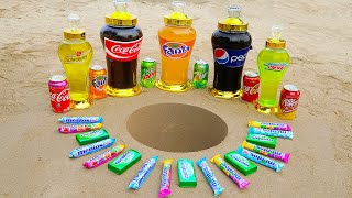 Bottle Coca Cola, Fanta, Mtn Dew, Pepsi and Popular Sodas VS Different Mentos in Big Underground!