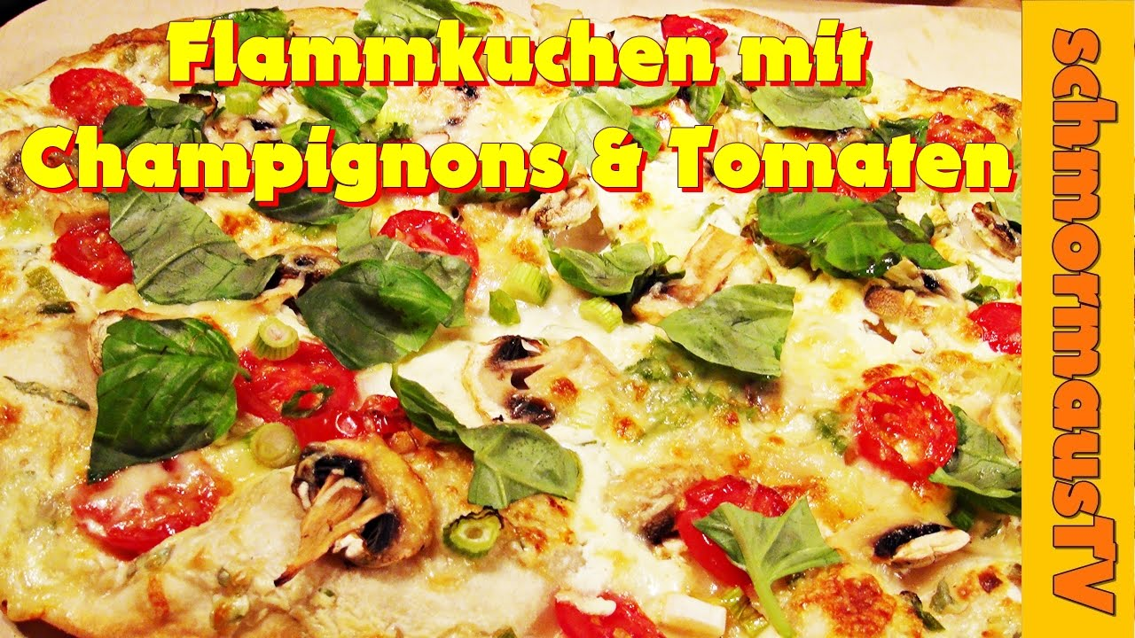 flammkuchen mit champignons tomate pikant 2 flammkuchen selber machen youtube. Black Bedroom Furniture Sets. Home Design Ideas