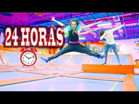24 HORAS en un PARQUE de TRAMPOLINES en VACACIONES!! | Palomitas Flow