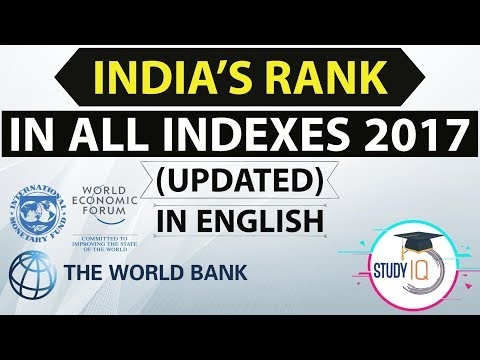 (English) India's rank in various Indexes 2017 - Latest - Current affairs IBPS / RRB / SSC / UPSC
