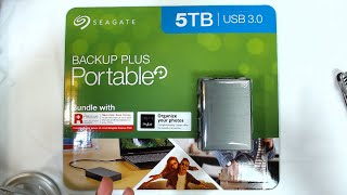 SEAGATE 5TB Backup Plus Portable Drive Unboxing and Speed Benchmark Review