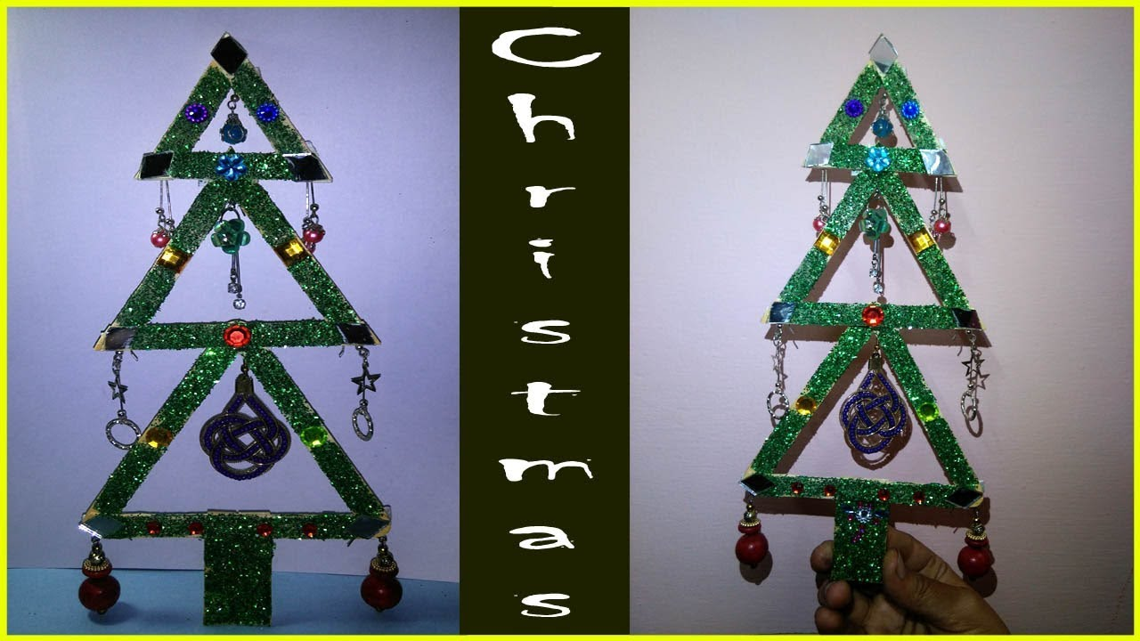 Easy And Beautiful Christmas Tree With Ice Cream Stick And Ear Rings