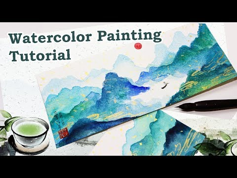 watercolor painting blue mountains tutorial