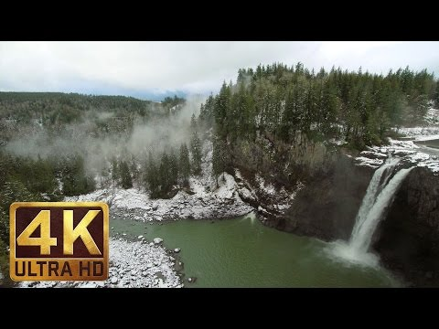4K Winter Scenery with Waterfall Sounds - Snoqualmie Falls in Winter. Washington State/ Trailer 54