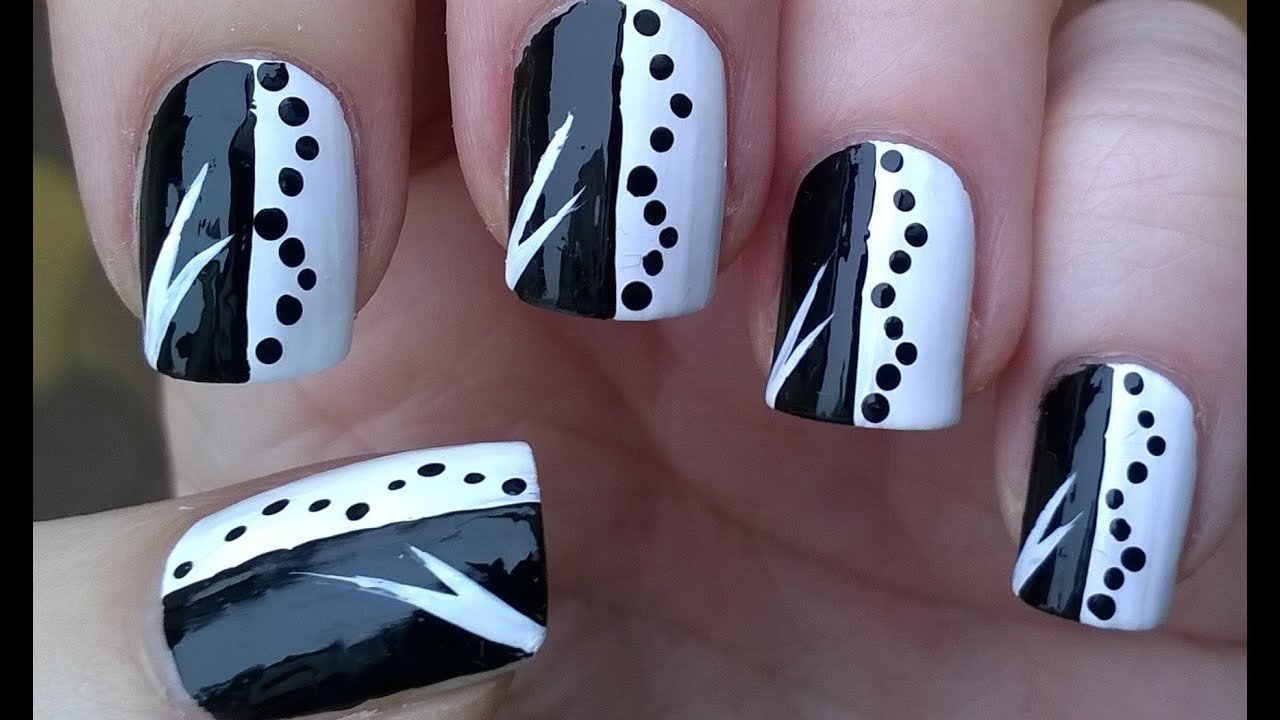 Black White Monochrome Nail Art Design For Beginners Diy Easy