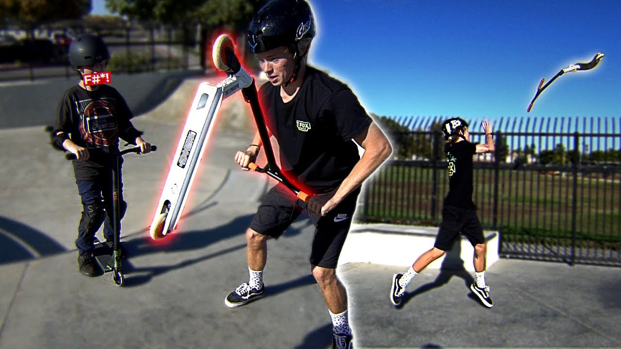 destroying-a-kid-s-scooter-giving-him-a-brand-new-one