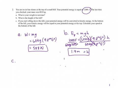 7.1 Potential and Kinetic Energy Handout Answers Explained