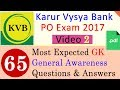 Expected GK General Awareness Questions for Karur Vysya Bank PO Exam 2017 - India Education Video 2