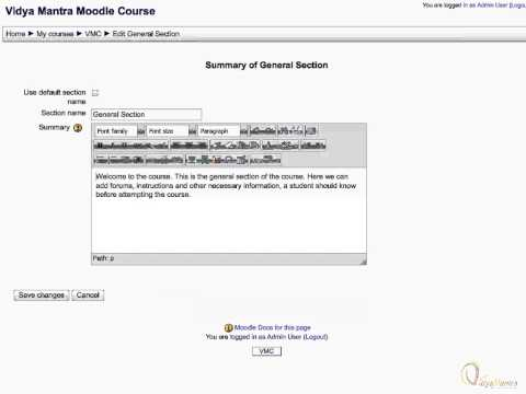 Moodle - Edit general section summary