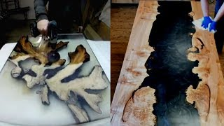 TOP 4 MOST AWESOME Solid Wood Tables With Resin |Epoxy Live Edge Woodworking Project Ideas MUST SEE