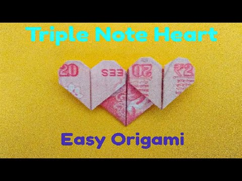 How to make triple Note heart (Origami)