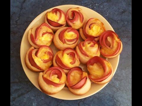 #Розы из колбасы в дрожжевом тесте. #видеорецепт.