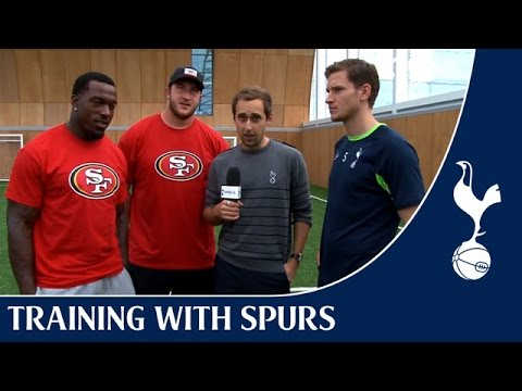 Football Vs Football - Jan Vertonghen, Patrick Willis and Joe Staley! | Training With Spurs