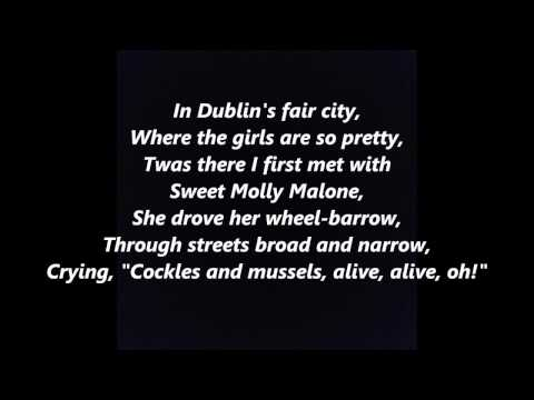 Irish Songs Molly Malone Cockles and Mussels In Dublin's Fair City words lyrics
