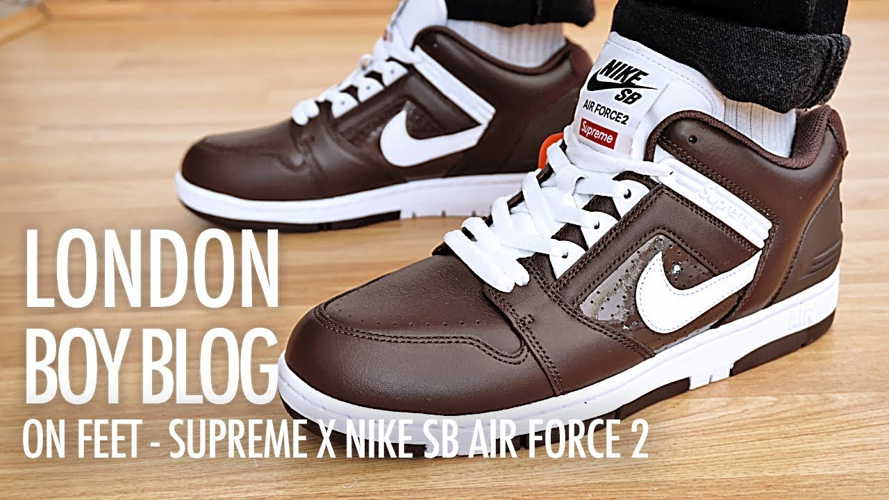 On Feet Supreme X Nike SB Air Force 2 'Baroque Brown'