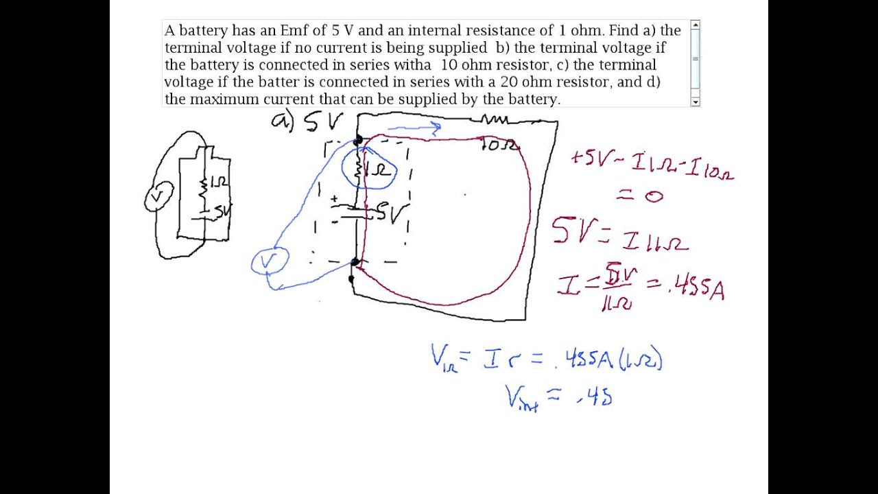 Battery Terminal Voltage And Internal Resistance Example Problem