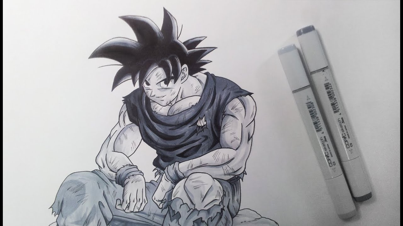 Drawing goku black and white