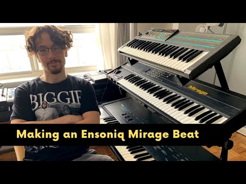 Making a beat with the Ensoniq Mirage DSK 8 keyboard sampler.