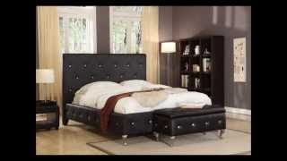 Black Tufted Design Leather Look King Size Upholstered Platform Bed
