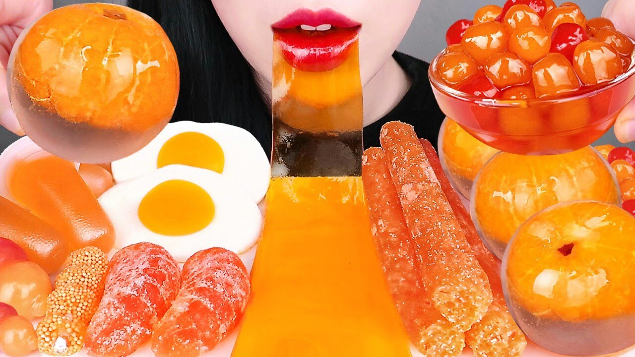 ASMR ORANGE FOOD 주황색 디저트 먹방 SHEET JELLY, TANGERINE JELLY, CHEETOS, TAPIOCA PEARL BOBA EATING MUKBANG