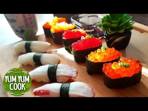 How To Make Nigiri & Sushi Roll | Salmon Roe & Flying Fish Roe Sushi | YumYumCook
