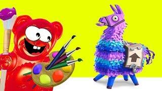 Fortnite Lama und Lucky Bär der Künstler