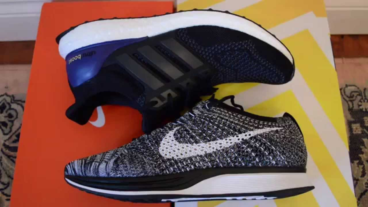 d5ddef363546e Adidas Ultra Boost Vs Nike Flyknit Racer comparison review + on feet -  YouTube