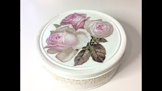 Lata de galletas reciclada - decoupage con relieve