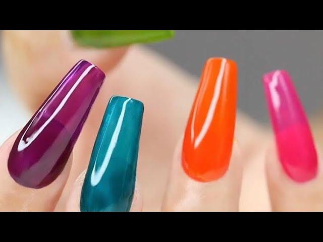 uñas acrilicas efecto gelatina en punta coffin y tonos neones 💚💜💙 - YouTube