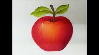 Pintura en tela como pintar una manzana #pinturaentela