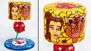 Beauty and the Beast Cake / Stained Glass Cake with floating isomalt rose