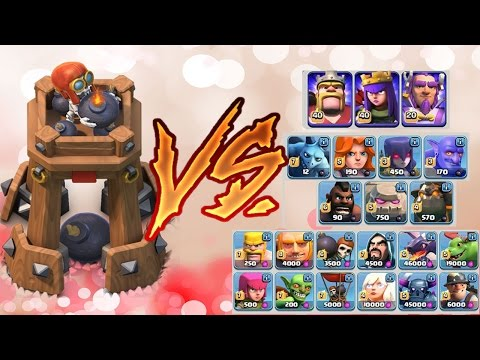 New Defense BOMB TOWER vs ALL TROOPS + WITCH BUFF TEST   New Update   Clash of Clans