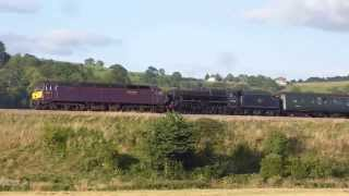 47237 + 44932 Black 5 ,5z36 ECS move @ Newton st Loe, Bath..31-08-13